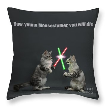 Throw Pillow featuring the photograph Cat Wars by Warren Photographic
