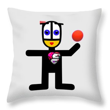 Cat With A Ball Throw Pillow