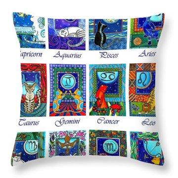 Cat Zodiac Astrological Signs Throw Pillow