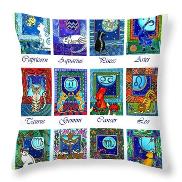 Cat Zodiac Astrological Signs Throw Pillow