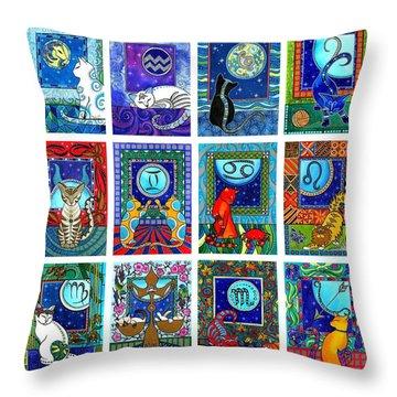 Cat Zodiac Paintings  Throw Pillow