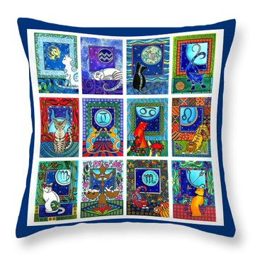 Cat Zodiac Paintings  Throw Pillow
