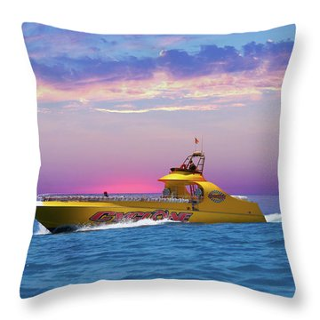 Catalina Island Cyclone Speedboat  Throw Pillow