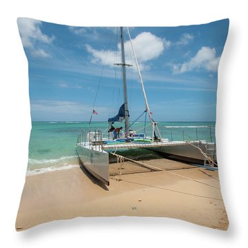 Catamaran On Waikiki Throw Pillow