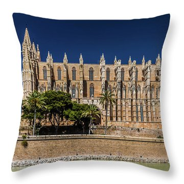 Catedral Basilica De Santa Maria De Mallorca, Spain Throw Pillow