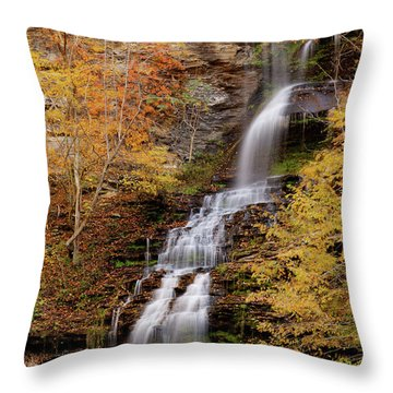Throw Pillow featuring the photograph Cathedral Falls by Pete Federico