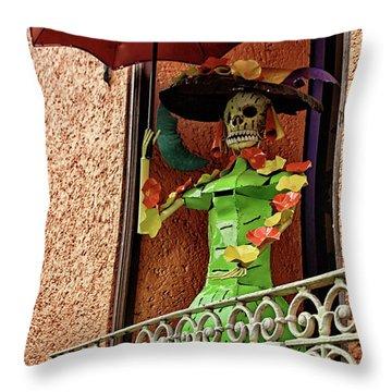 Throw Pillow featuring the photograph Catrina Bonita In The Balcony by Tatiana Travelways