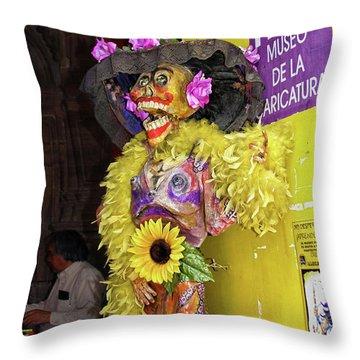 Throw Pillow featuring the photograph Catrina - Museo De La Caricatura, Mexico City by Tatiana Travelways