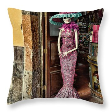 Throw Pillow featuring the photograph Catrina Welcomes You by Tatiana Travelways