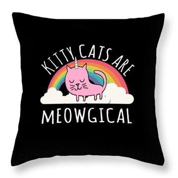 Throw Pillow featuring the digital art Cats Are Magical by Flippin Sweet Gear