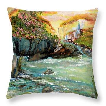 Cattail Falls Throw Pillow
