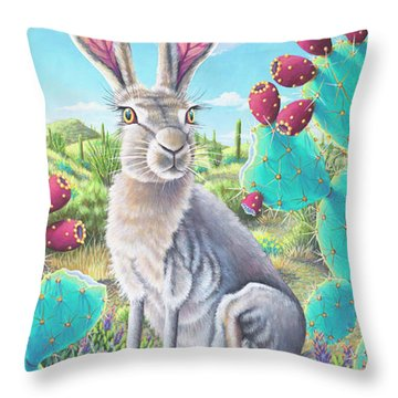 Catus Jack's Prickly Paradise Throw Pillow