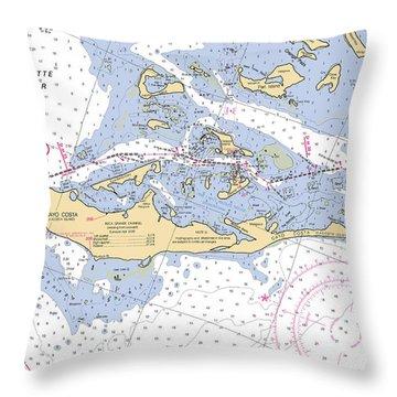 Cayo Costa Nautical Chart Throw Pillow