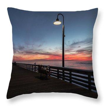 Cayucos Pier Sunset Throw Pillow