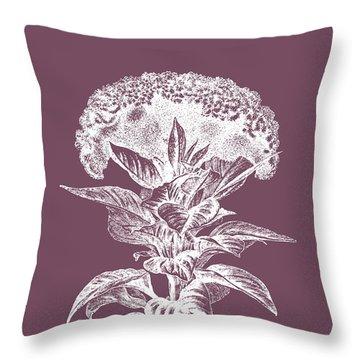 Celosia Purple Flower Throw Pillow