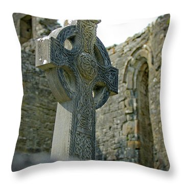 Throw Pillow featuring the photograph Celtic Cross In Ireland by Mark Duehmig