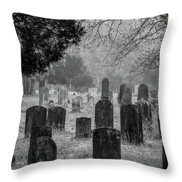 Throw Pillow featuring the photograph Cemetery In The Pines Bw by Kristia Adams