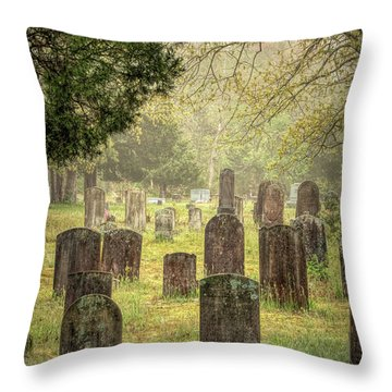 Throw Pillow featuring the photograph Cemetery In The Pines by Kristia Adams