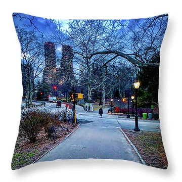 Central Park At Night, New York, New York Throw Pillow
