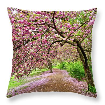 Central Park Cherry Blossoms Throw Pillow