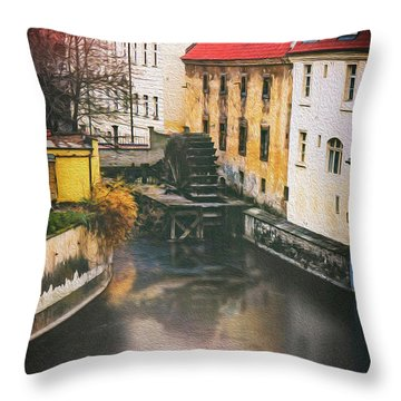 Certovka Canal And Old Water Wheel Prague Throw Pillow