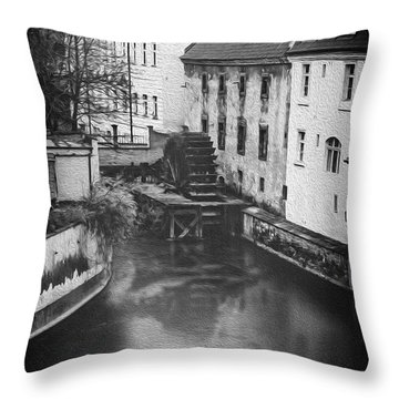 Certovka Canal And Old Water Wheel Prague In Black And White Throw Pillow