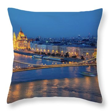 Chain Bridge And Budapest Parliament At Night Throw Pillow