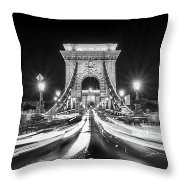Chain Bridge At Night In Budapest Throw Pillow