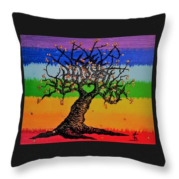 Throw Pillow featuring the drawing Chakra Love Tree by Aaron Bombalicki