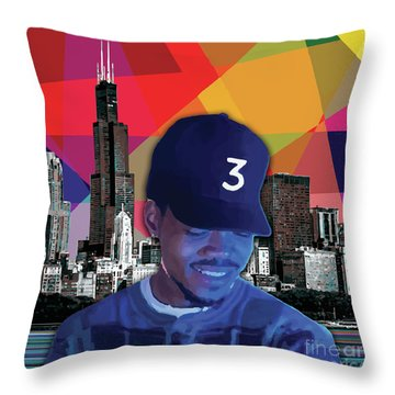 Throw Pillow featuring the painting Chance Chicago by Carla B