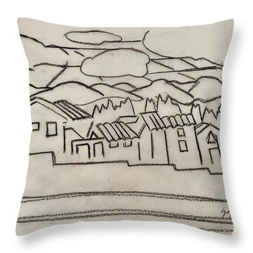 Charcoal Houses Sketch Throw Pillow