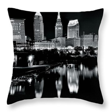 Charcoal Night View Of Cleveland Throw Pillow