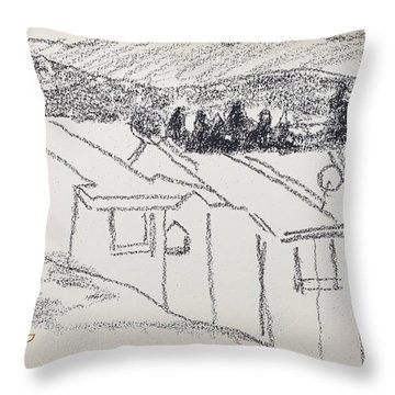 Charcoal Pencil Houses1.jpg Throw Pillow