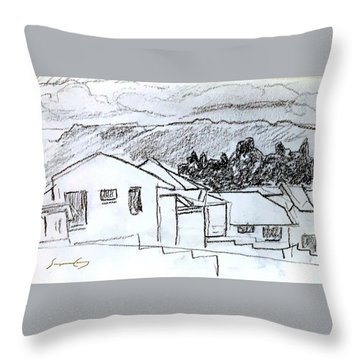Charcoal Pencil Houses.jpg Throw Pillow