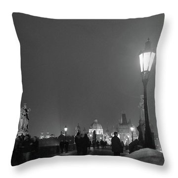 Throw Pillow featuring the photograph Charles Bridge At Night by Mark Duehmig