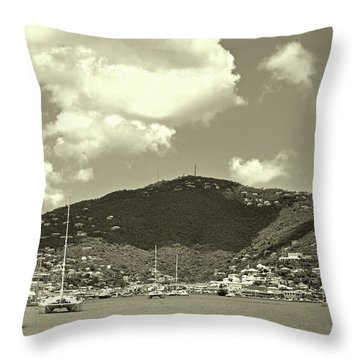 Charlotte Amalie Harbor In Sepia Throw Pillow