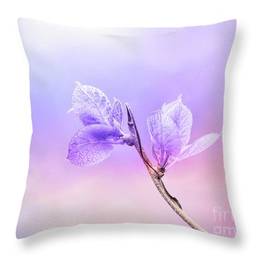 Charming Baby Leaves In Purple Throw Pillow