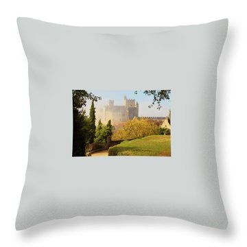 Throw Pillow featuring the photograph Chateau Beynac In The Mist by Mark Shoolery