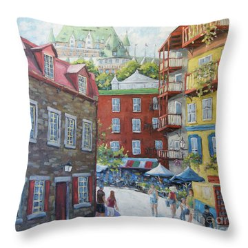 Chateau Frontenac Lower Quebec By Richard Pranke Throw Pillow
