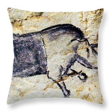 Chauvet Rhinoceros Throw Pillow