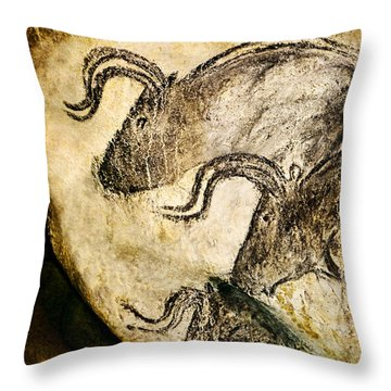 Chauvet - Three Aurochs Throw Pillow