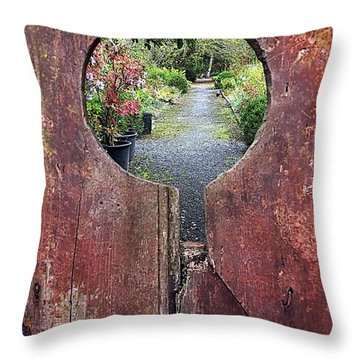 Throw Pillow featuring the painting Check In Here by Val Byrne