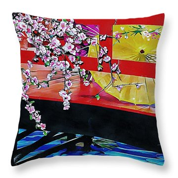 Throw Pillow featuring the photograph Cherry Blossom Bridge by Dorothy Berry-Lound