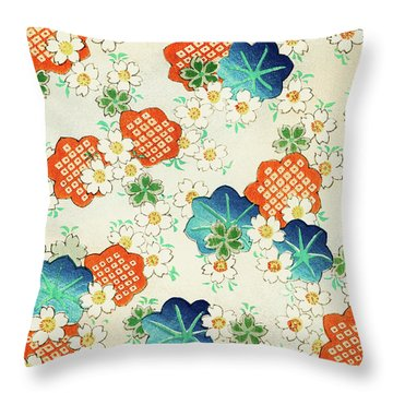 Cherry Blossoms And  Fallen Leaf- Japanese Traditional Pattern Design Throw Pillow