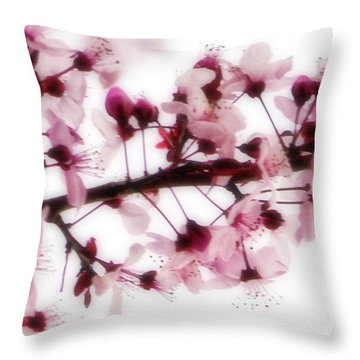 Throw Pillow featuring the photograph Cherry Triptych Center Panel by Mark Shoolery
