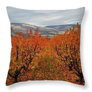Cherry Orchard Autumn Throw Pillow
