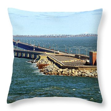 Throw Pillow featuring the photograph Chesapeake Bay Bridge Tunnel E S V A by Bill Swartwout Fine Art Photography