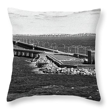 Throw Pillow featuring the photograph Chesapeake Bay Bridge Tunnel E S V A Black And White by Bill Swartwout Fine Art Photography