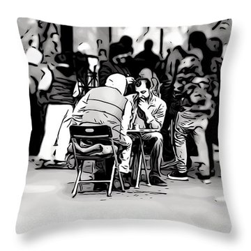 Chess Match Union Square  Throw Pillow