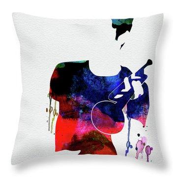 Chet Baker Watercolor Throw Pillow
